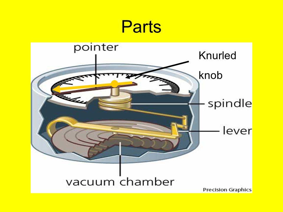 aneroid barometer. 3 parts knurled knob aneroid barometer
