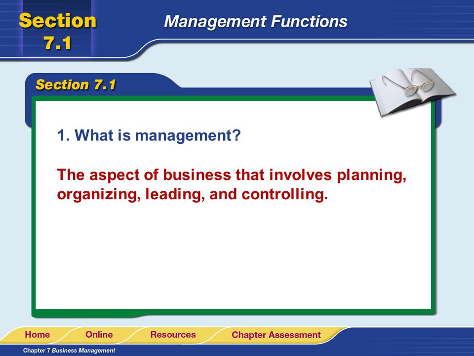 1.What is management? The aspect of business that involves planning, organizing, leading, and controlling.