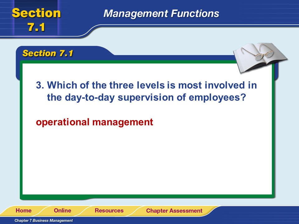 3.Which of the three levels is most involved in the day-to-day supervision of employees? operational management