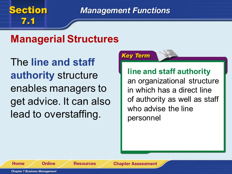 Managerial Structures The line and staff authority structure enables managers to get advice. It can also lead to overstaffing. line and staff authorit