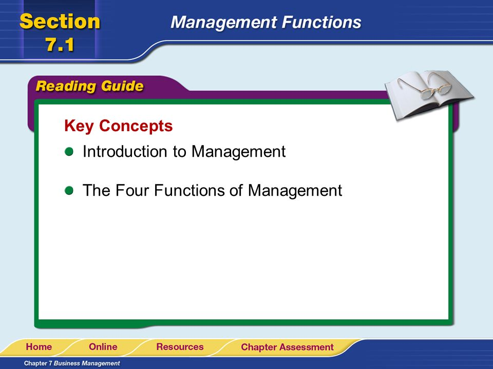 Key Concepts Introduction to Management The Four Functions of Management