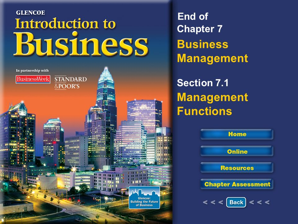 Chapter 7 Business Management Section 7.1 Management Functions End of