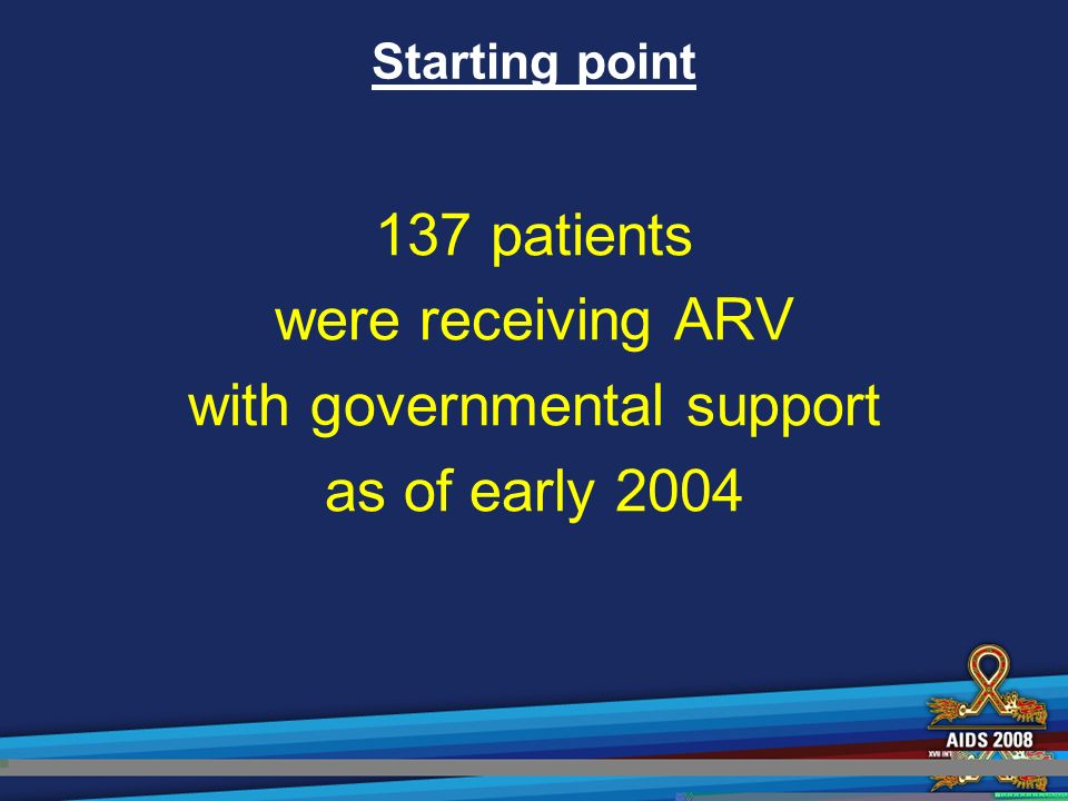 Starting point 137 patients were receiving ARV with governmental support as of early 2004