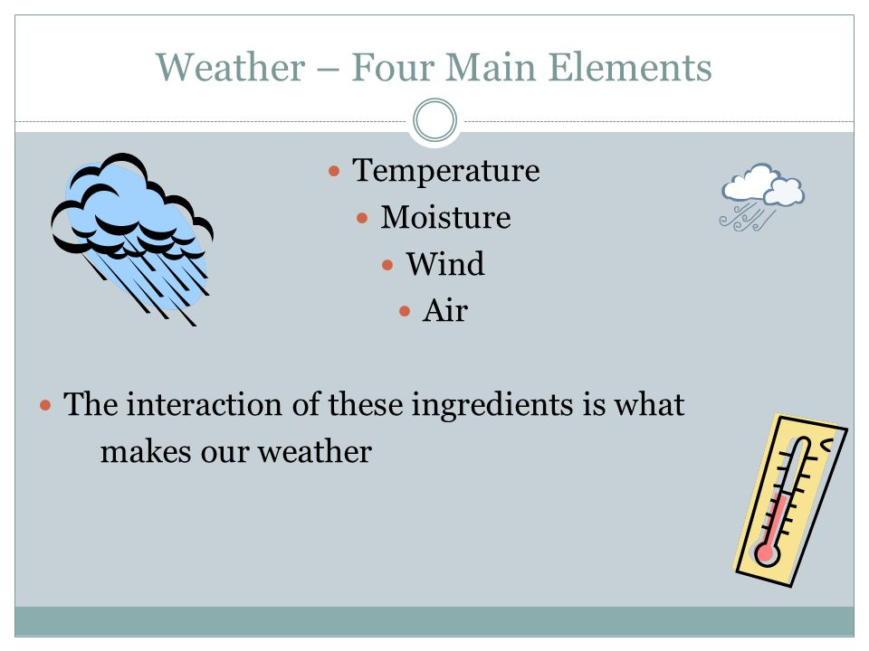 WEATHER IS THE TERM WE USE TO DESCRIBE THE CONDITIONS OF THE ...