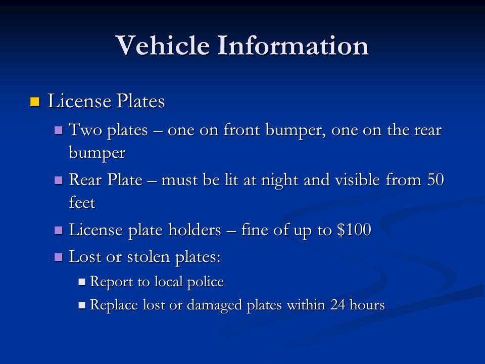 29 Vehicle Information Registration ...