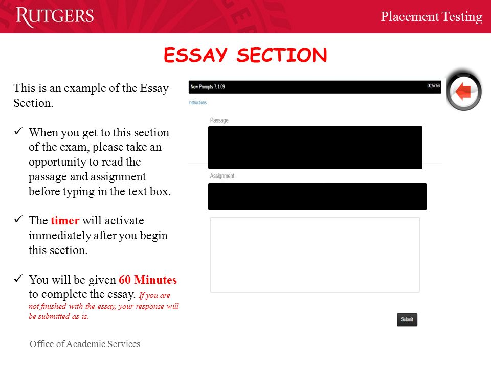 office of academic services placement testing essay section this is an example of the essay section
