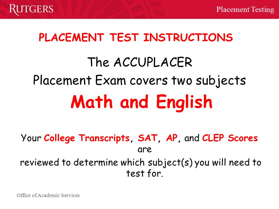 Welcome to Placement Testing at Rutgers University- Newark ...