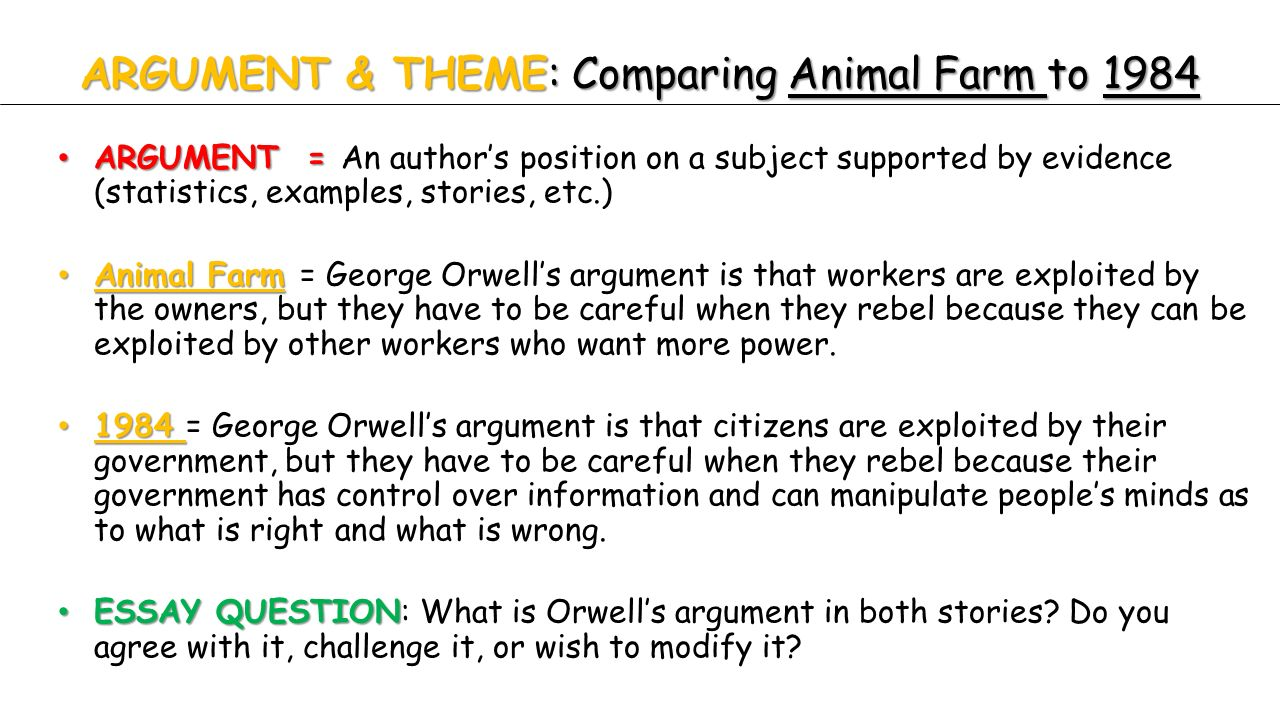 today s agenda animal farm continue reading animal farm theme  argument theme comparing animal farm to 1984 argument argument an author s position