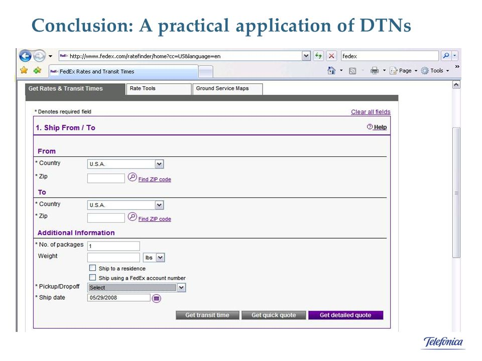 Conclusion: A practical application of DTNs The utilization of a network can be improved but for this we need: 1.