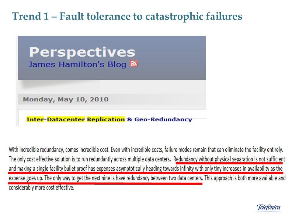 Trend 1 – Fault tolerance to catastrophic failures