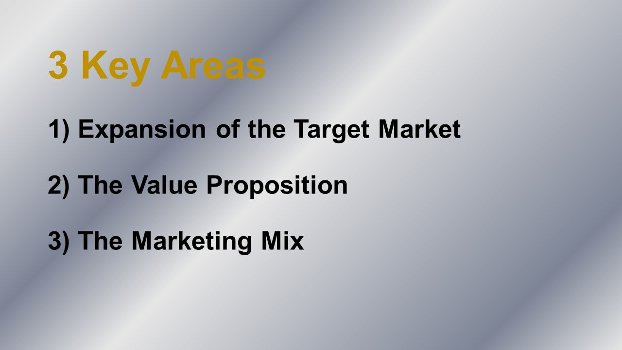 3 Key Areas 1) Expansion of the Target Market 2) The Value Proposition 3) The Marketing Mix