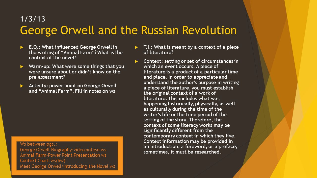 an analysis of the theme of rusian revolution in animal farm by orwell Russian revolution and orwell (animal farm) essays: over 180,000 russian revolution and orwell (animal farm) essays, russian revolution and orwell (animal farm) term papers, russian revolution and orwell (animal farm) research paper, book reports 184 990 essays, term and research papers available for.