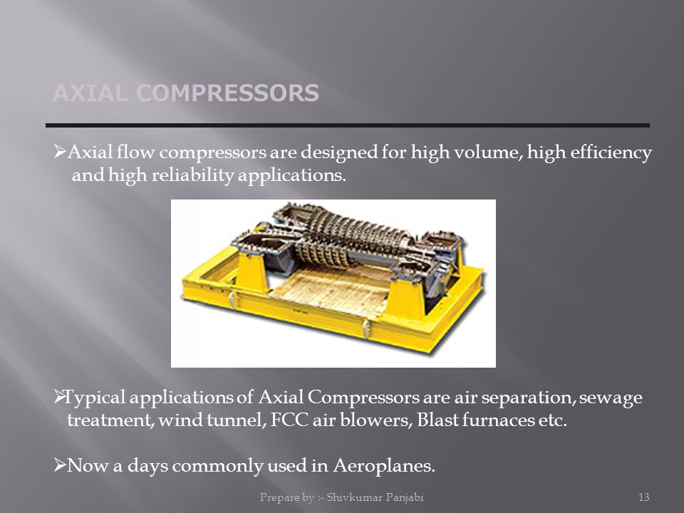 AXIAL COMPRESSORS  Axial flow compressors are designed for high volume, high efficiency and high reliability applications.