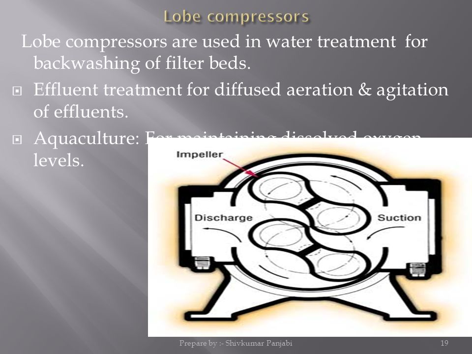 Lobe compressors are used in water treatment for backwashing of filter beds.