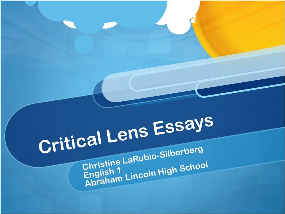 Critical Lens Essay Lesson Plans Essay about