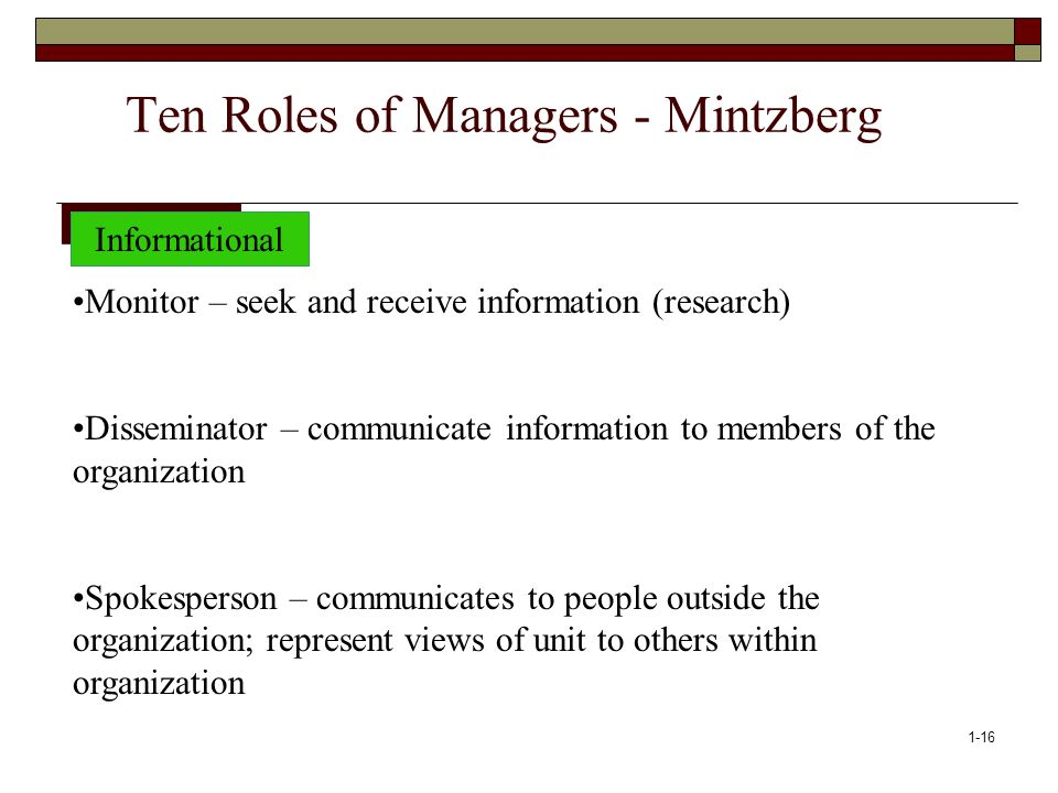 1-16 Ten Roles of Managers - Mintzberg Informational Monitor – seek and receive information (research) Disseminator – communicate information to members of the organization Spokesperson – communicates to people outside the organization; represent views of unit to others within organization