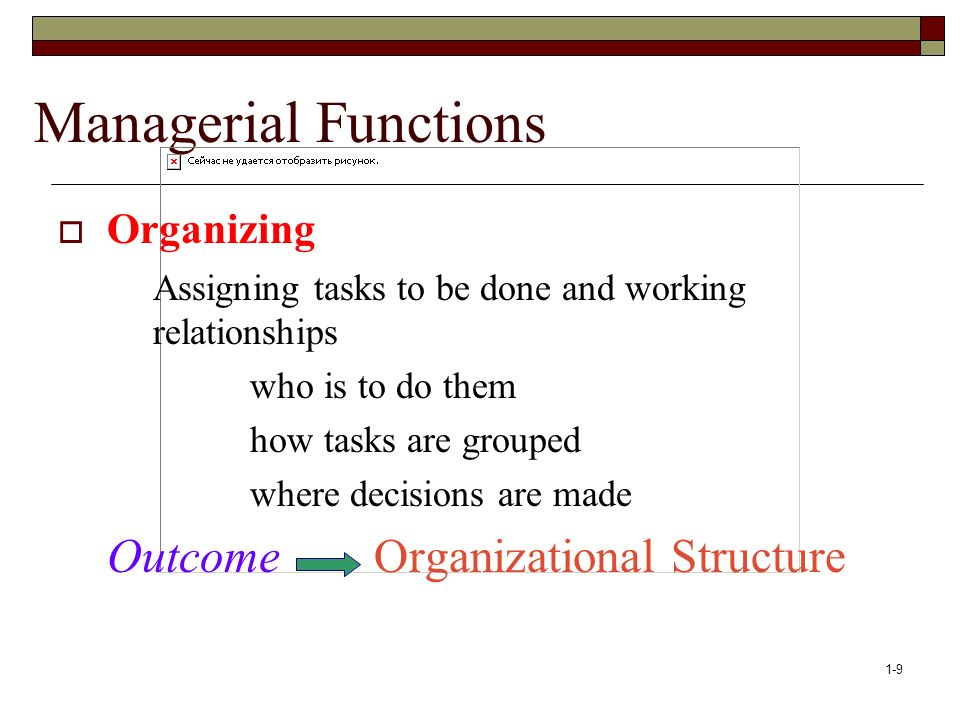1-9 Managerial Functions  Organizing Assigning tasks to be done and working relationships who is to do them how tasks are grouped where decisions are made Outcome Organizational Structure