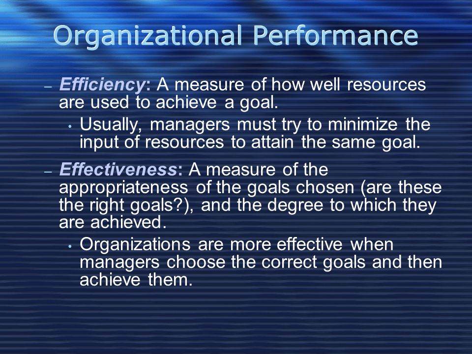 Organizational Performance – Efficiency: A measure of how well resources are used to achieve a goal.