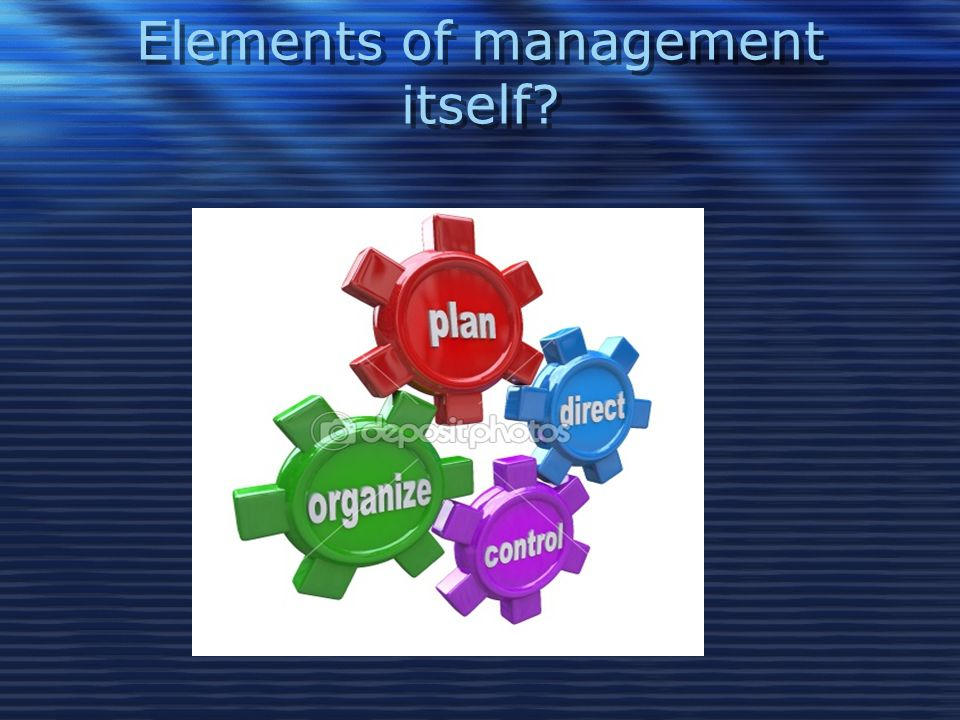 Elements of management itself