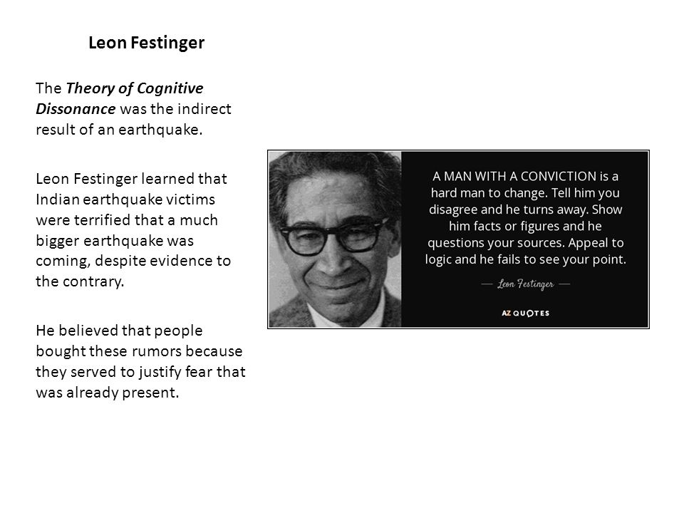 an analysis of leon festingers theory of cognitive dissonance