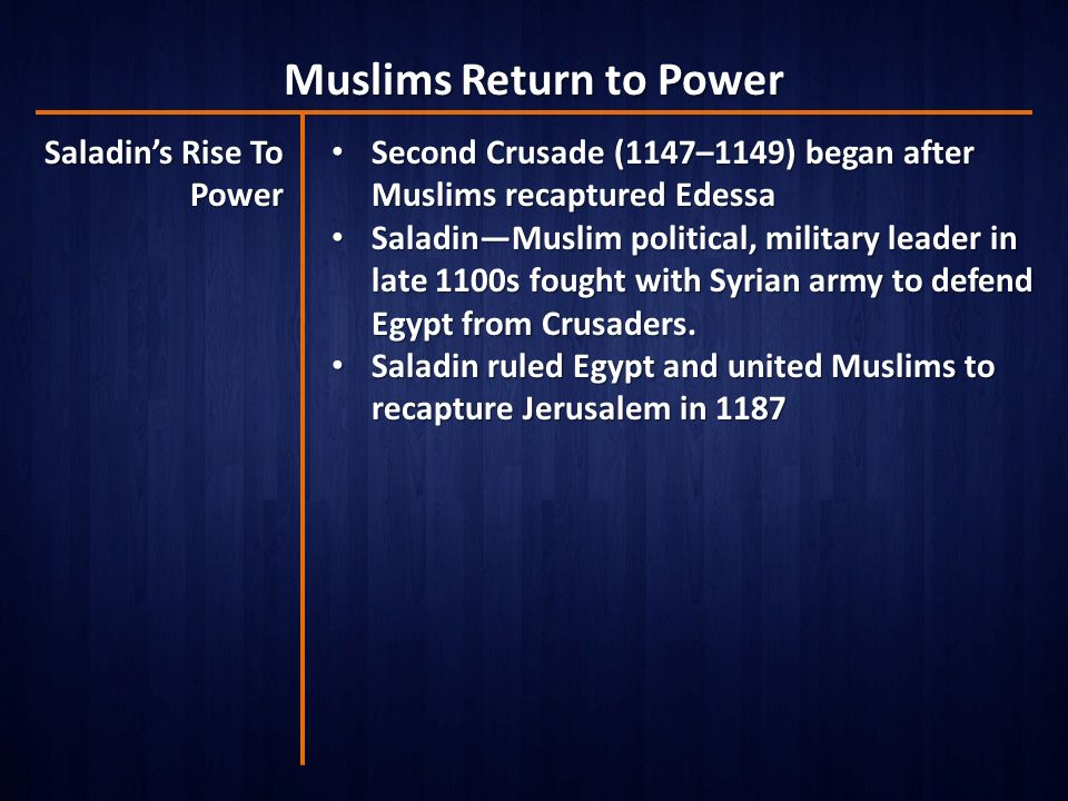 Muslims Return to Power Saladin's Rise To Power Second Crusade (1147–1149) began after Muslims recaptured Edessa Second Crusade (1147–1149) began after Muslims recaptured Edessa Saladin—Muslim political, military leader in late 1100s fought with Syrian army to defend Egypt from Crusaders.