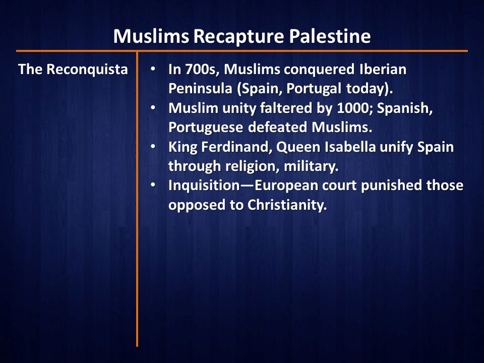 Muslims Recapture Palestine The Reconquista In 700s, Muslims conquered Iberian Peninsula (Spain, Portugal today).