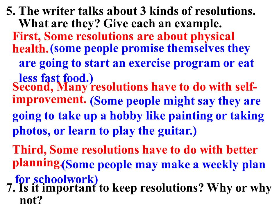 5. The writer talks about 3 kinds of resolutions.