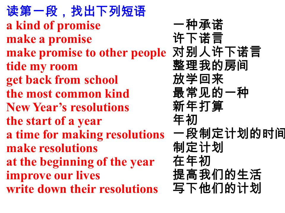 读第一段,找出下列短语 a kind of promise make a promise make promise to other people tide my room get back from school the most common kind New Year's resolutions the start of a year a time for making resolutions make resolutions at the beginning of the year improve our lives write down their resolutions 一种承诺 许下诺言 对别人许下诺言 整理我的房间 放学回来 最常见的一种 新年打算 年初 一段制定计划的时间 制定计划 在年初 提高我们的生活 写下他们的计划
