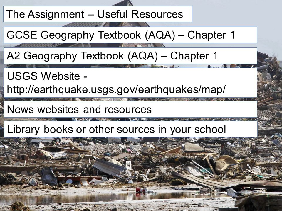 6 The Assignment Useful Resources GCSE Geography