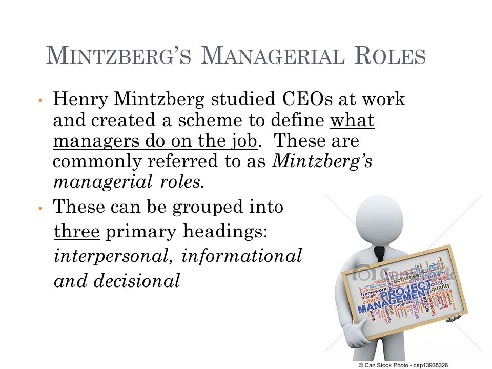 Henry Mintzberg studied CEOs at work and created a scheme to define what managers do on the job.