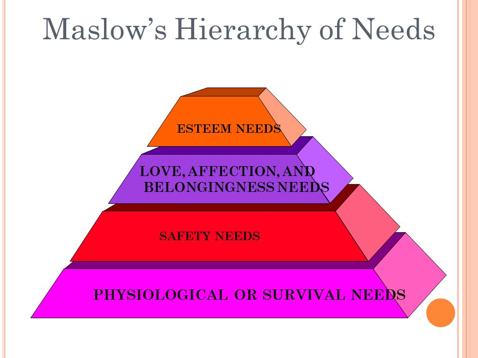 Maslow's Hierarchy of Needs PHYSIOLOGICAL OR SURVIVAL NEEDS SAFETY NEEDS LOVE, AFFECTION, AND BELONGINGNESS NEEDS ESTEEM NEEDS