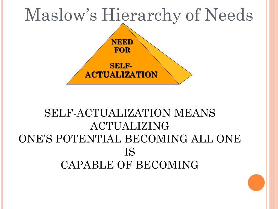 Maslow's Hierarchy of NeedsSELF-ACTUALIZATION NEEDFOR SELF-ACTUALIZATION MEANS ACTUALIZING ONE'S POTENTIAL BECOMING ALL ONE IS CAPABLE OF BECOMING