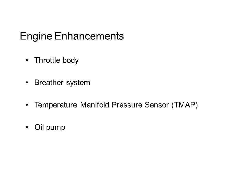 Engine Enhancements Throttle body Breather system Temperature Manifold Pressure Sensor (TMAP) Oil pump