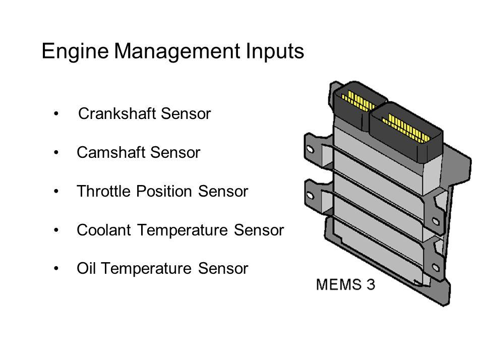 Engine Management Inputs Crankshaft Sensor Camshaft Sensor Throttle Position Sensor Coolant Temperature Sensor Oil Temperature Sensor