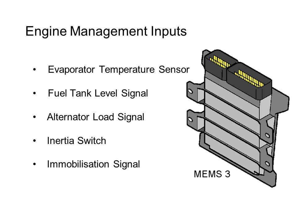 Engine Management Inputs Evaporator Temperature Sensor Fuel Tank Level Signal Alternator Load Signal Inertia Switch Immobilisation Signal