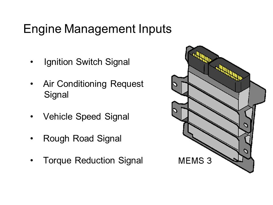 Engine Management Inputs Ignition Switch Signal Air Conditioning Request Signal Vehicle Speed Signal Rough Road Signal Torque Reduction Signal