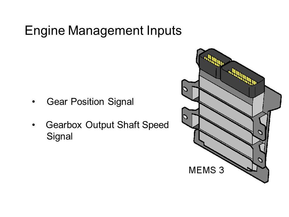 Engine Management Inputs Gear Position Signal Gearbox Output Shaft Speed Signal