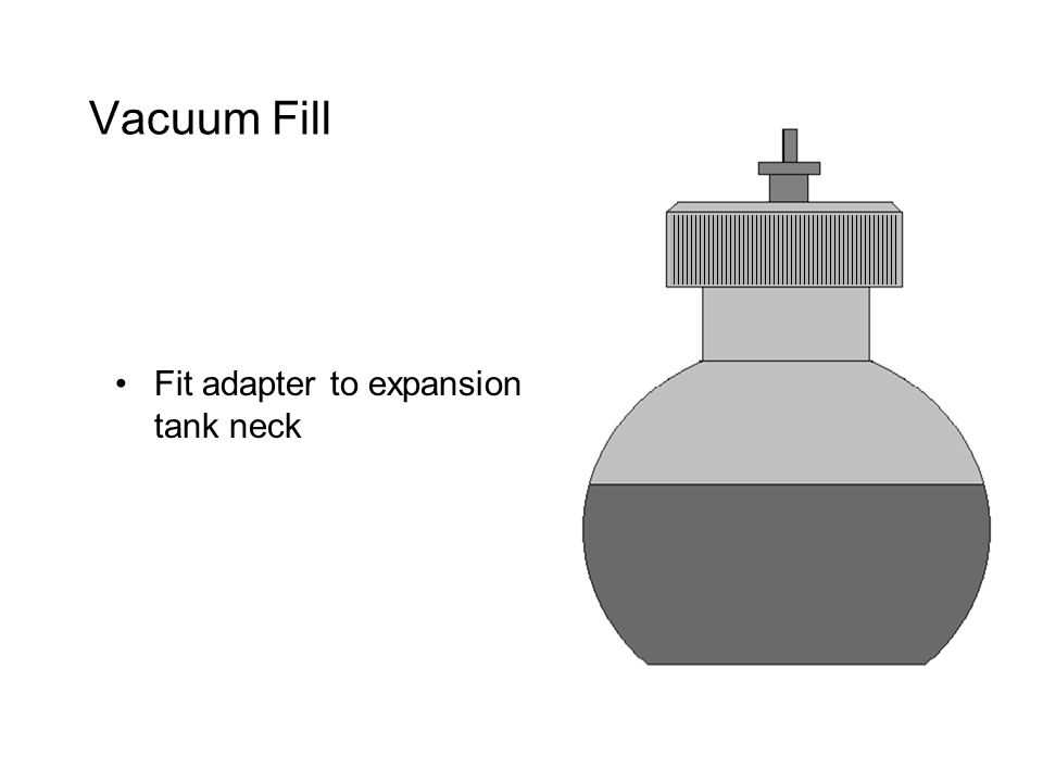 Vacuum Fill Fit adapter to expansion tank neck