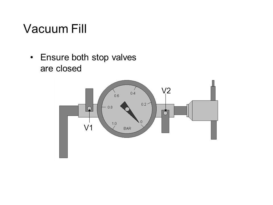 Vacuum Fill Ensure both stop valves are closed V1 V2