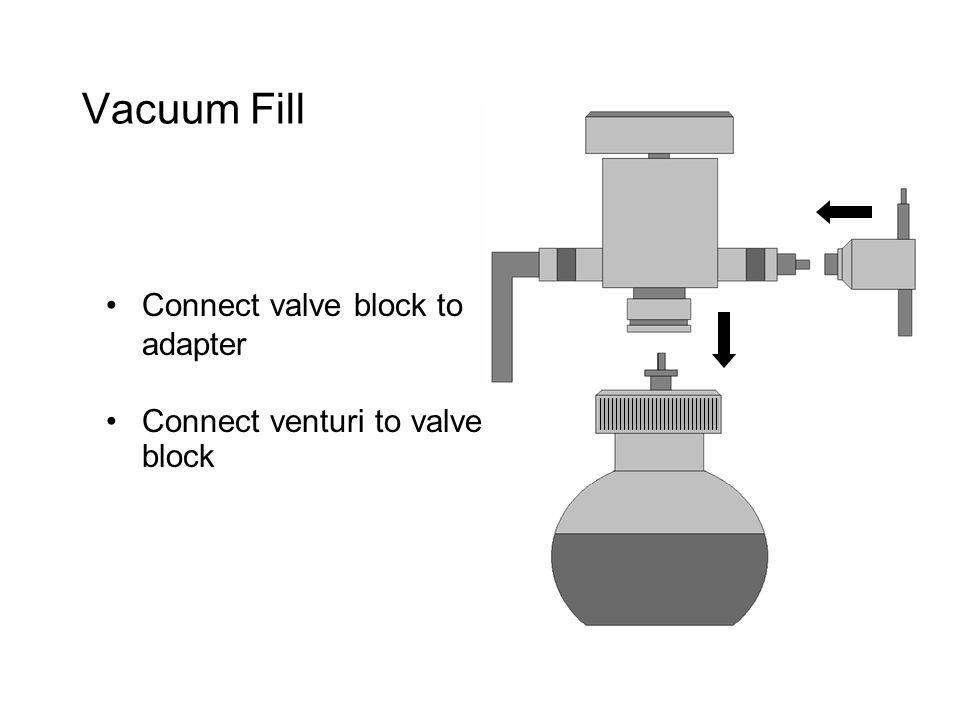 Vacuum Fill Connect valve block to adapter Connect venturi to valve block