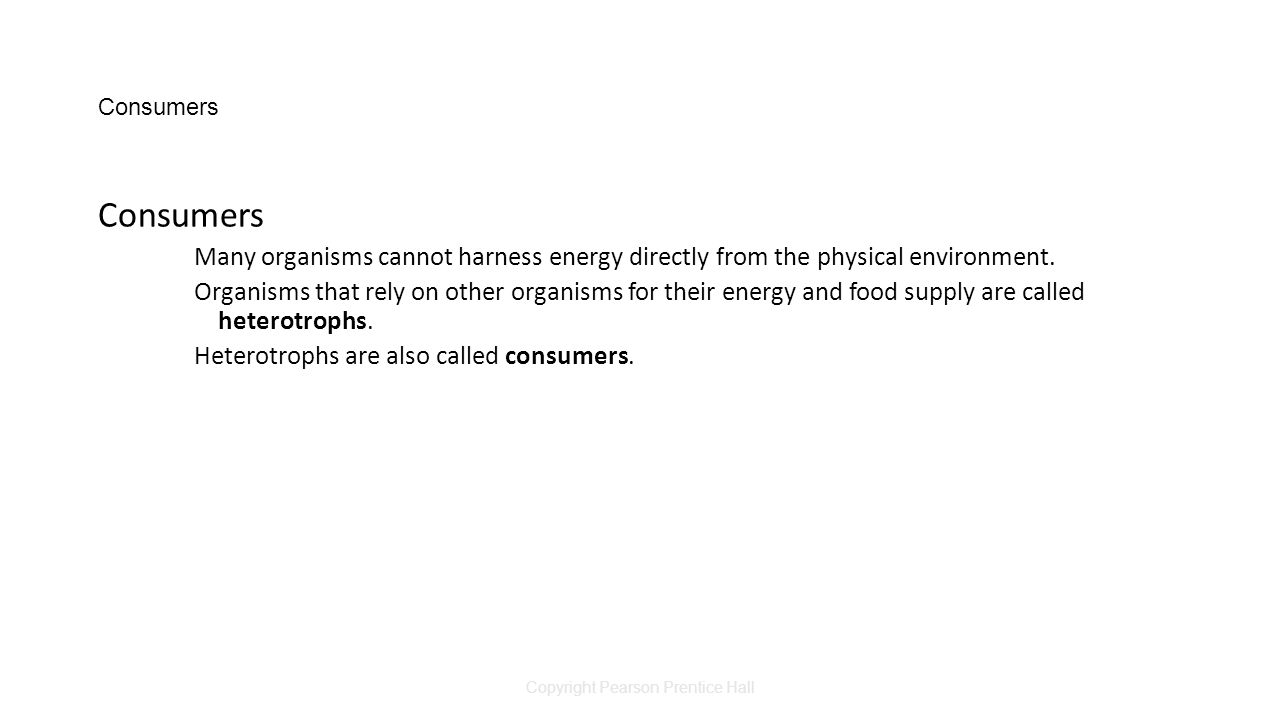 Copyright Pearson Prentice Hall Consumers Many organisms cannot harness energy directly from the physical environment.