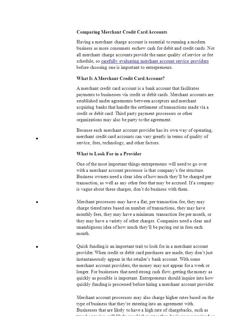 Comparing Merchant Credit Card Accounts Having a merchant charge ...