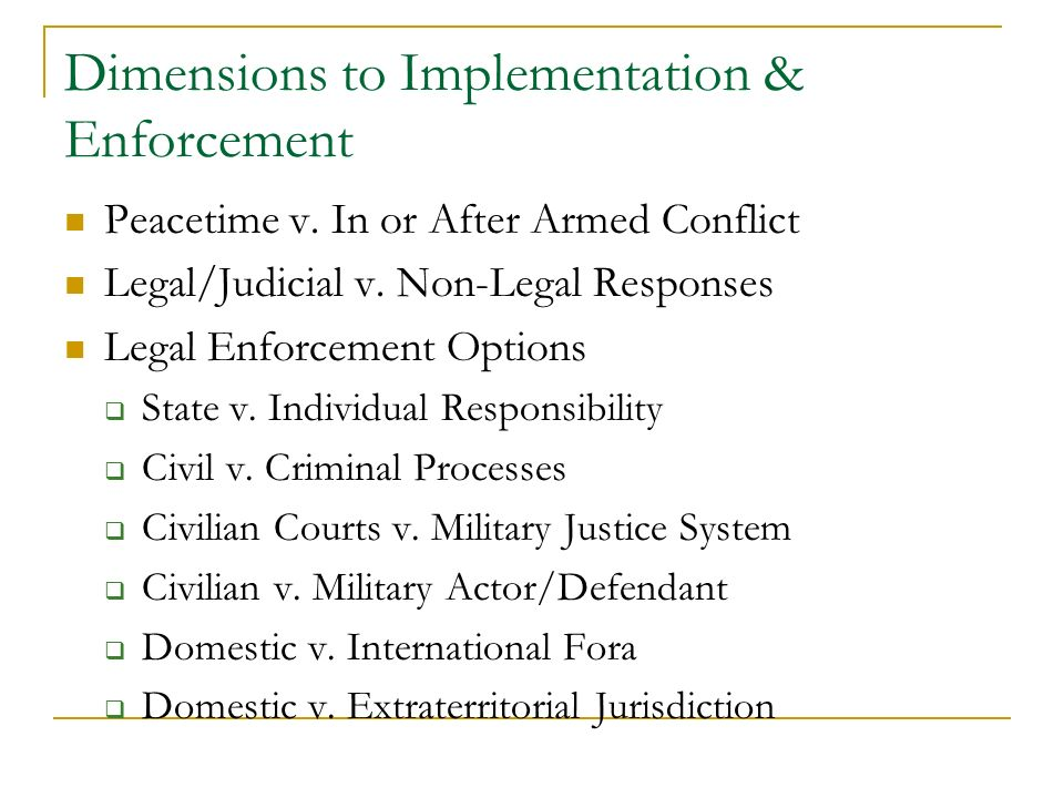 the implementation enforcement of international humanitarian law  2 dimensions