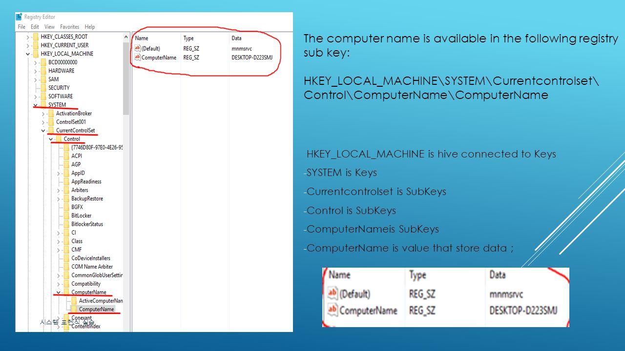 computername registry xp