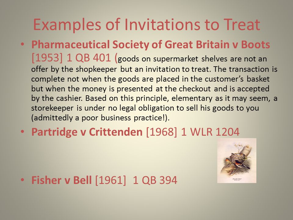 Introduction agreement offer and acceptance parties must show examples of invitations to treat pharmaceutical society of great britain v boots 1953 1 stopboris