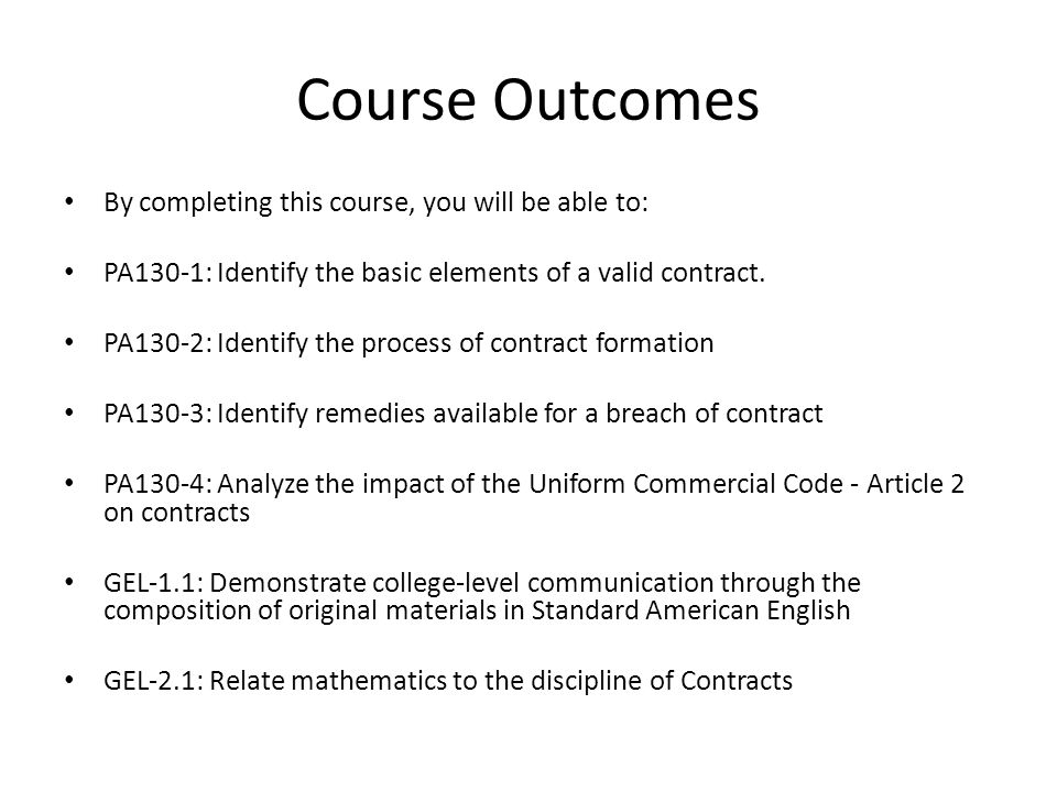 Unit  Seminar Contracts Welcome To Contracts This Course Will