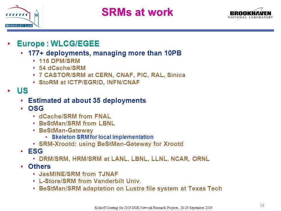 Kickoff Meeting for 2009 DOE Network Research Projects, 28-29 September 2009 SRMs at work Europe : WLCG/EGEEEurope : WLCG/EGEE 177+ deployments, managing more than 10PB 116 DPM/SRM 54 dCache/SRM 7 CASTOR/SRM at CERN, CNAF, PIC, RAL, Sinica StoRM at ICTP/EGRID, INFN/CNAF USUS Estimated at about 35 deployments OSG dCache/SRM from FNAL BeStMan/SRM from LBNL BeStMan-Gateway Skeleton SRM for local implementation SRM-Xrootd: using BeStMan-Gateway for Xrootd ESG DRM/SRM, HRM/SRM at LANL, LBNL, LLNL, NCAR, ORNL Others JasMINE/SRM from TJNAF L-Store/SRM from Vanderbilt Univ.