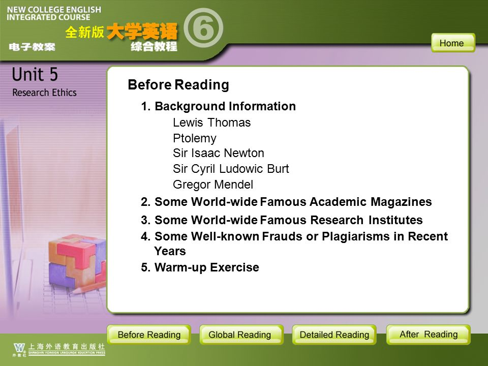 BR-main Before Reading 3. Some World-wide Famous Research Institutes 4.