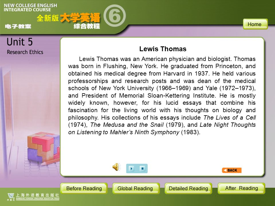 BR1- Lewis Thomas Lewis Thomas Lewis Thomas was an American physician and biologist.