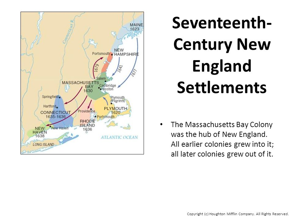 Seventeenth- Century New England Settlements The Massachusetts Bay Colony was the hub of New England.